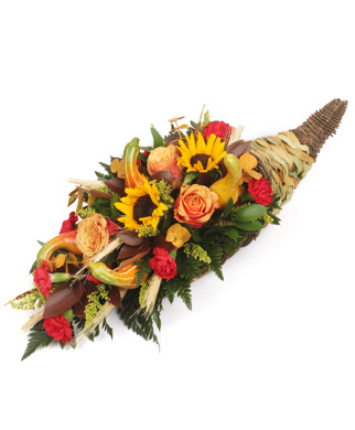Thanksgiving Fall Table Cornucopia with Sunflowers and Roses