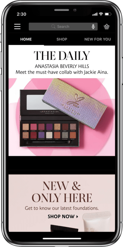Stateside project | Sephora Mobile App Application device #2