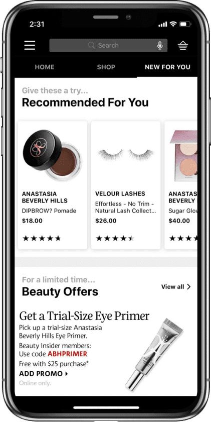 Stateside project | Sephora Mobile App Application device #3