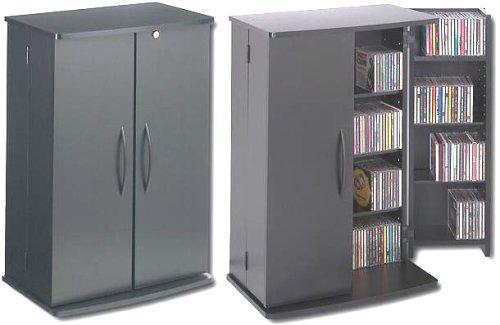 Perfect Prepac BVS 0136 Black Small Locking Media Storage Cabinet