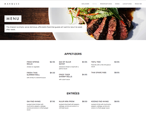 Example restaurant menu built with Squarespace.