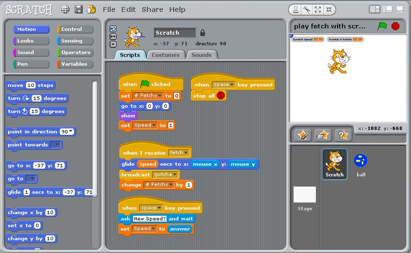 Scratch, where kids learn code by dragging and dropping code blocks.