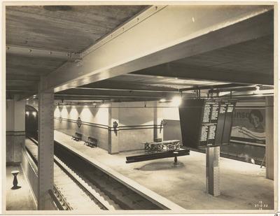 railway, train, station, waiting, area, loading, unloading, passengers, black, and white, photo, solemn, human-less, subway