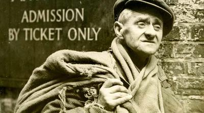 photo, conceptual, old, man, needy, in, need, helpless, help, black, hat, portrait, message, slogan, tagline, admission, ticket, only