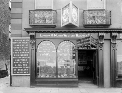 London, London store, Railway Co, London & North Western Railway Co, Store windows, Window advertisement, Business Black and white