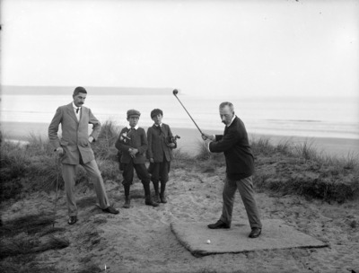 Golf, Golf Black and white, Golf by sea, Boy caddy, Golf on the beach, Golf swing, Old Fashion golf, Vintage Golf