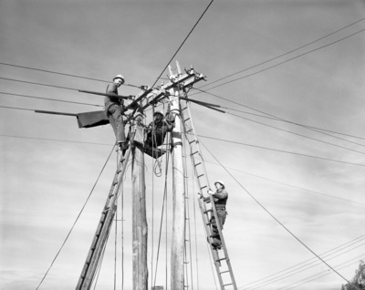 Lineman, Lineman black and white, Man on pole, man on ladder, Electrical wire,