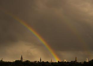 Rainbow, Dark Clouds, Rainbow over city, Rainclouds,Double rainbow