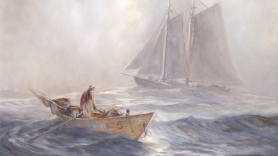 picture, painting, canvas, art, ship, mast, sail, boat, ocean, sea, paddles