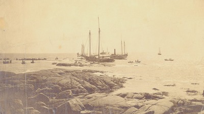 old, vintage, sea, ocean, water, rocks, ships, boats, horizont, waves, sea foam