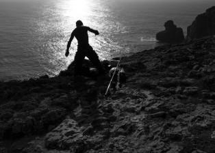 man, beach, ocean, sea, water, sunset, sand, rocks, fisherman, sea surface