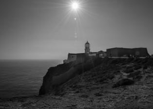 lighthouse, ocean, sea, water, sea surface, promontory, cliff, buildings, sunset, sundown, shore