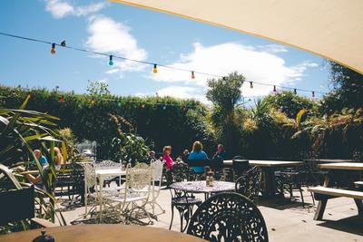 cafe, bar, outdoor, tables, garden, people, sky, clouds, exterior, light bulbs, decorative