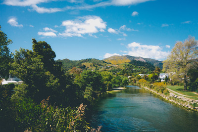 river, water, landscape, hills, landforms, nature, greenery, sky, clouds, trees