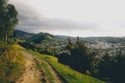 hills, landscape, trail, cityscape, nature, sky, view, panorama, greenery, clouds