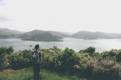 ocean, sea, water, landscape, islands, greenery, boat, tourist, backpack, nature, panorama