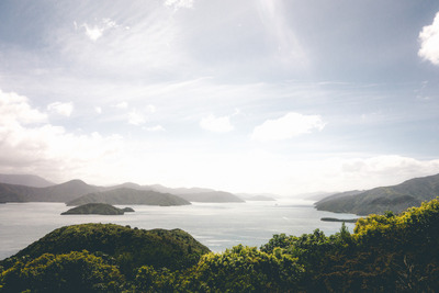 ocean, sea, water, island, hills, nature, landscape, panorama, sky, clouds, sun rays