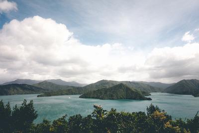 ocean, sea, water, island, hills, nature, sky, clouds, panorama, greenery, landscape