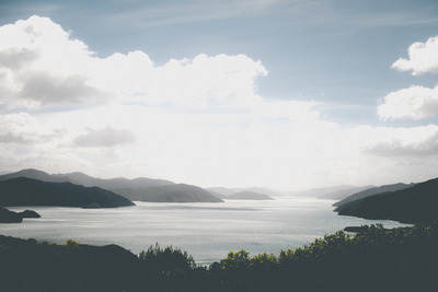 ocean, sea, water, island, landscape, greenery, sky, clouds, horizont, nature