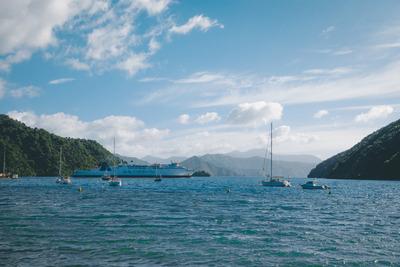 ocean, sea, water, island, boats, ship, cruiser, sky, clouds, maritime, sail