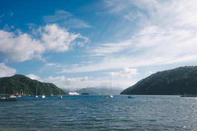 ocean, sea, water, island, sky, clouds, boats, ship, sail, maritime