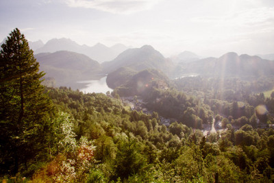 bavaria, woodland, hills, river, water, landscape, nature, treetops, sun rays, sky, clouds, geography