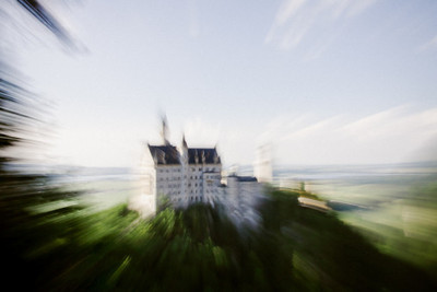 bavaria, castle, architecture, fortress, sky, motion, trees, branches, landmark, river, water, blur