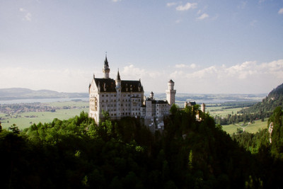 bavaria, castle, architecture, fortress, sky, clouds, trees, branches, landmark, river, water