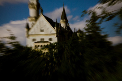 bavaria, castle, palace, fortress, architecture, sky, clouds, landmark, nature, motion, blur