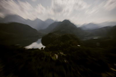 bavaria, hills, woodland, river, water, landscape, sky, clouds, nature, treetops, motion, blur