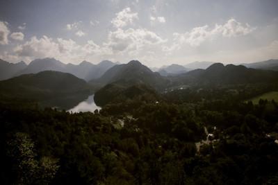 bavaria, hills, woodland, river, water, landscape, sky, clouds, nature, treetops