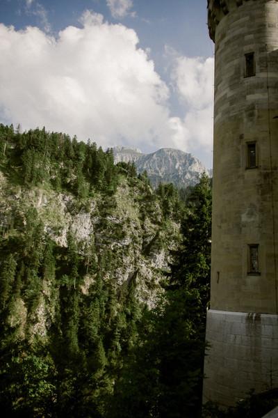 bavaria, mountain, castle, palace, fortress, architecture, closeup, sky, clouds, landmark, nature