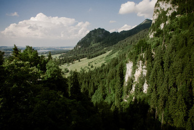bavaria, alps, valley, woodland, trees, river, panorama, treetops, nature, landscape, sky, clouds