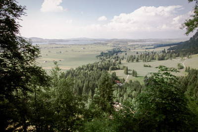bavaria, valley, river, landscape, nature, trees, branches, treetops, sky, clouds, panorama