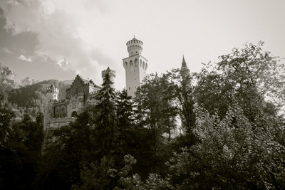 bavaria, castle, architecture, forest, sky, clouds, tower, trees, branches, vintage