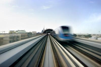 rail, track, high speed, speed, train, transport, motion, city, urban, sky
