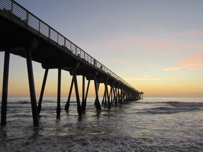 ocean, sea, water, sea foam, waves, sunset, sky, bridge, architecture, construction, horizont