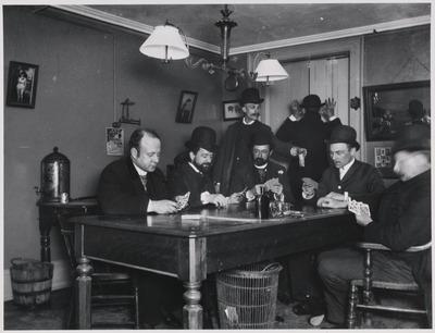 room, interior, old, vintage, men, table, furniture, gambling, playing cards, set, drinks