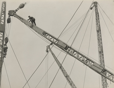 crane, construction, structure, sky, safety, wires, man, worker, sheave, climbing, old