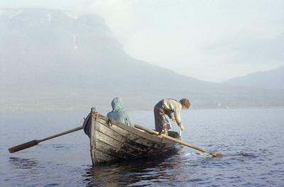 canoe, boat, paddles, sea, water, fog, woman, man, fisherman, fishing, old, vintage