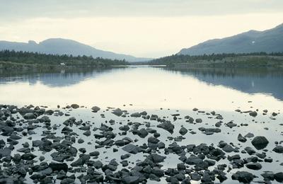 lake, water, stones, reflection, hills, nature, landscape, sky
