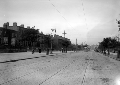 tram, tramway, track, buildings, people, architecture, old, vintage, sky, transportation