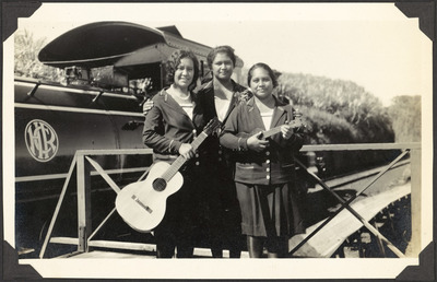 train, photograph, transport, women, guitar, music, band, old, vintage