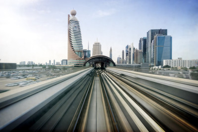 rail, track, high speed, speed, transport, motion, city, urban, buildings, towers, sky