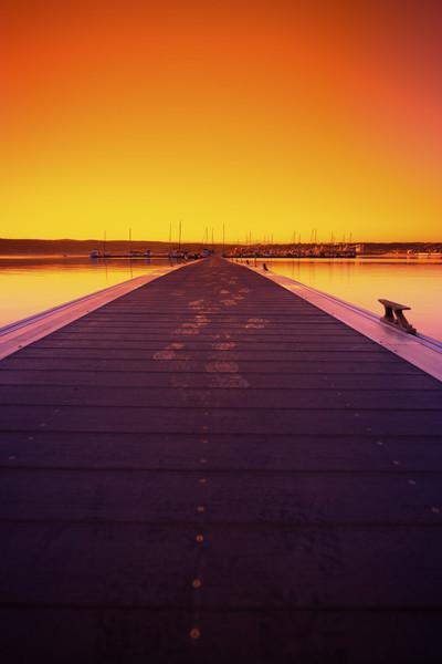 dock, sunset, abstract, sundown, water, sea, boats, sail, sky, orange