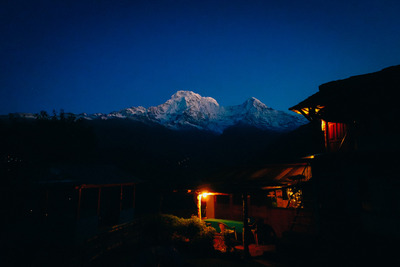 mountain, mountains, night, sky, house, home, garden, nature, wild