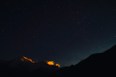 mountain, mountains, sky, stars, night, astronomy, silhouette