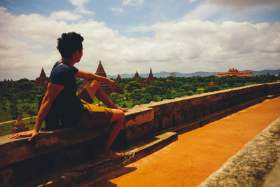 myanmar, castle, structures, temples, architecture, landmark, wall, man, tourist, sky, clouds