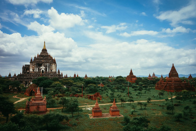 myanmar, castle, architecture, greenery, landmark, sky, clouds, trees, structures, temples, garden