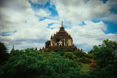 myanmar, castle, architecture, greenery, landmark, sky, clouds, trees, structure